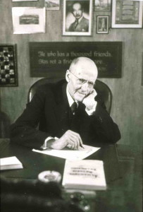 Paul Harris in his office at Rotary headquarters, 1945.
